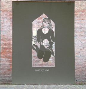 Ellen Faber papercut, heilig huisje, 75 x 100 cm